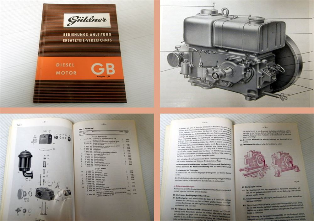 Güldner GB Dieselmotor Bedienungsanleitung Ersatzteilliste 1958