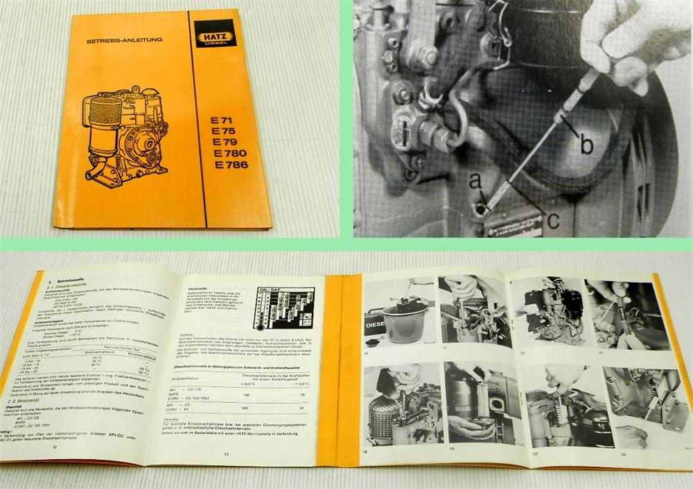 Hatz E 71 75 79 780 786 Motor Betriebsanleitung Bedienungsanleitung 1989