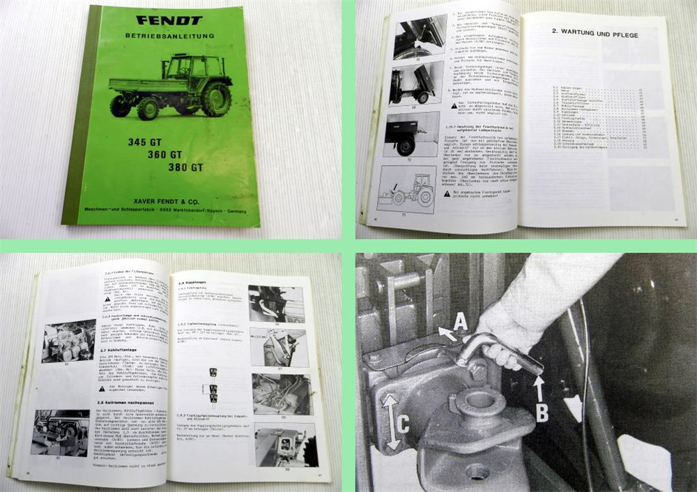 Fendt 345 360 380 GT tool carriers operating instructions manual ...