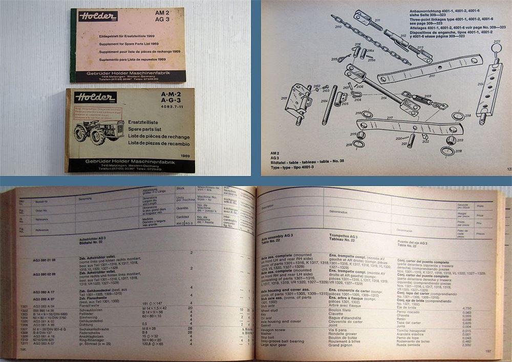 Holder AM2 AG3 Schlepper Ersatzteilliste Spare Parts List 1969-1971