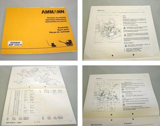 Ammann DVP1240H Vibrationsplatte Betriebsanleitung + Ersatzteill