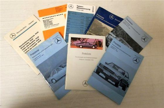Mercedes Benz Baumusterverzeichnis, Preislisten, Typenbezeichnung 8 Teile