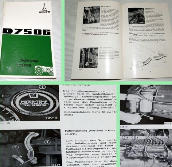 Deutz D 7506 Dieselschlepper Bedienungsanleitung 1968 mit F6L 91