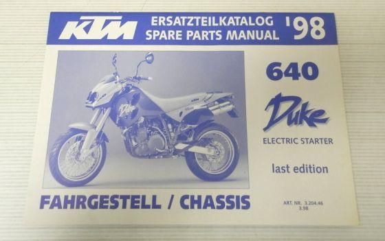 Ersatzteilkatalog KTM 640 Duke Electric Starter 1998 Ersatzteilliste Parts List