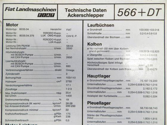 Fiat 566 + DT Ackerschlepper Landmaschinen Technische Daten 1982