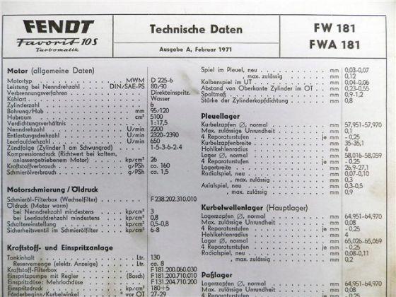 Fendt Favorit 10S Turbomatik FW 181  FWA 181 Technische Daten 1971