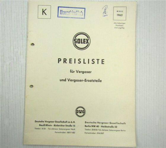 Solex Vergaser und Vergaser-Ersatzteile Preisliste 03/1962