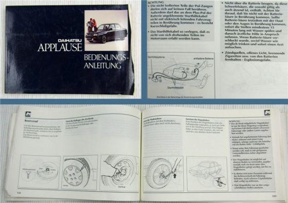 Daihatsu Applause Betriebsanleitung Bedienungsanleitung Wartung 1991