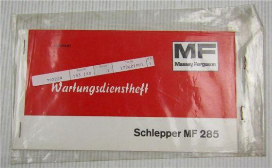 Massey Ferguson MF285 Schlepper Wartungsdienstheft Wartungsheft Scheckheft