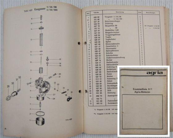 Agria Motoren Typen 35 64 65 66 Ersatzteilliste Ersatzteilkatalog 10/1976