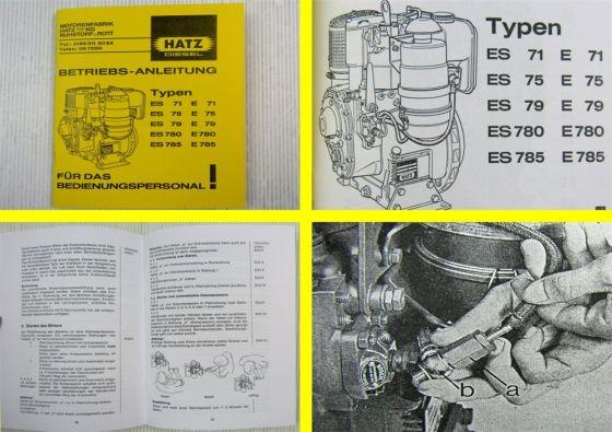 Hatz E71 E75 E79 E780 E785 Dieselmotor Betriebsanleitung 1981