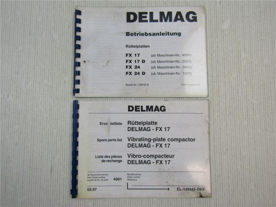 Delmag FX 17 Rüttelplatte Ersatzteilliste + Betriebsanleitung Bedienung 1997