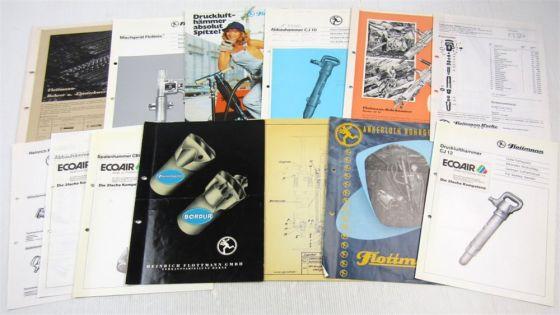 12 Prospekte Flottmann Bohrgeräte Drucklufthämmer Bohrer + technische Zeichnung