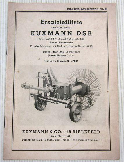 Kuxmann DSR Vorratsroder mit Zapfwellenantrieb Ersatzteilliste 1965