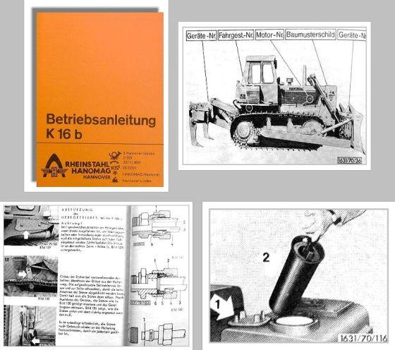 Hanomag K16 B Kettenschlepper Betriebsanleitung Bedienung Wartung