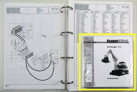 Kramer Allrad 812 Mobilbagger Ersatzteilliste Spare parts List 1998