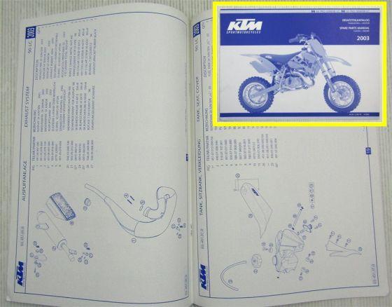 KTM 50SX Pro Junior Senior LC Parts List Ersatzteilliste Motor Fahrgestell 2003