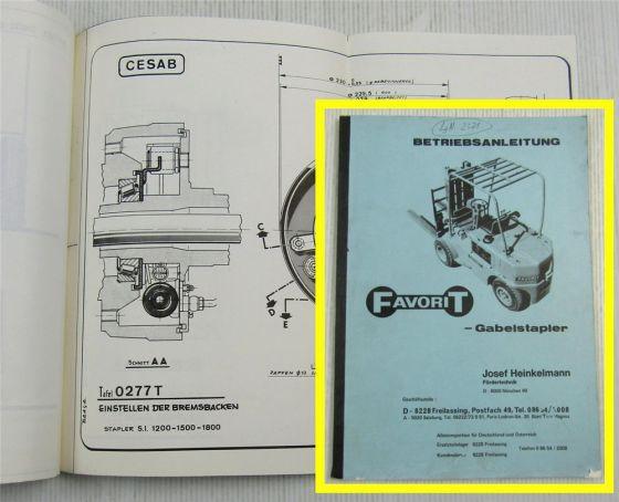 CESAB Favorit Gabelstapler Betriebsanleitung Bedienungsanleitung ca 1971