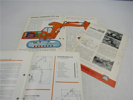 3 Prospekte Atlas 1800 Bagger Raupenbagger 1965