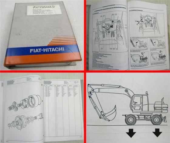 Fiat-Hitachi FH130W.3 Ersatzteilliste Bedienungsanleitung von 95/96 Schaltpläne