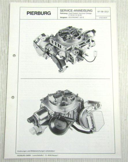 Pierburg Ecotronic 2E-E Vergaser Serviceanweisung Kadett Ascona Omega E S 18NV