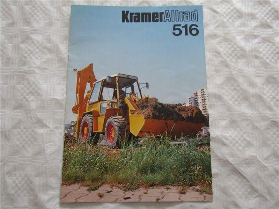Prospekt Kramer Allrad 516 Baggerlader von 1979 mit technischen Daten