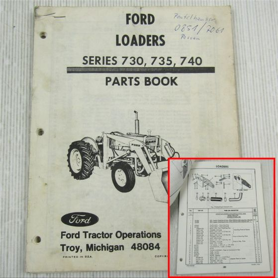 Ford Loaders Series 730 735 740 Parts List Book October 1974