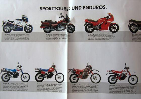 3 Prospekte Honda Programm 80er Roller 85 Sportmotorräder Sporttourer Chopper 87