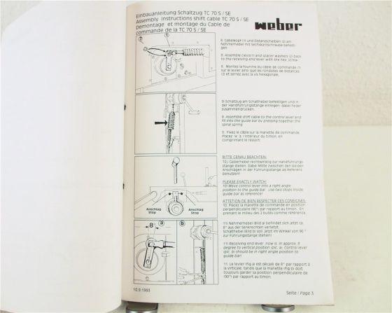 Weber Serviceunterlagen Informationen Reparaturanleitung Einbau RC TC 1993