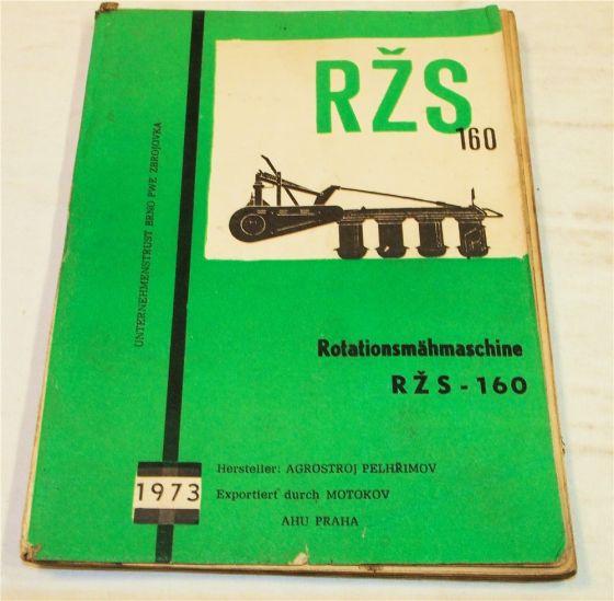 Agrostroj RZS160 Rotationsmähmaschine Bedienungsanleitung Ersatzteilliste 1973