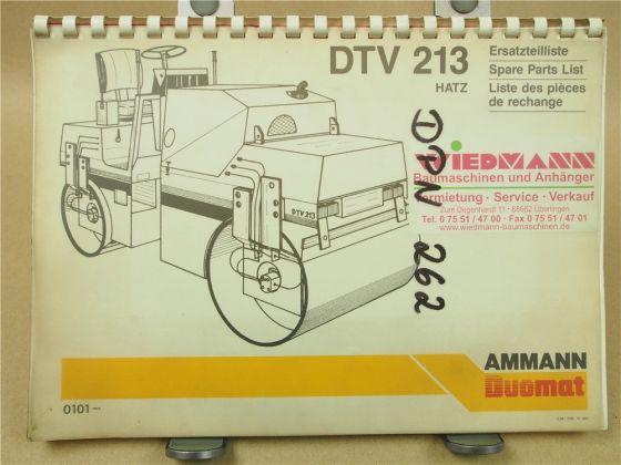 Ammann DTV213 Walze Ersatzteilliste Ersatzteilkatalog Parts List 3/1986