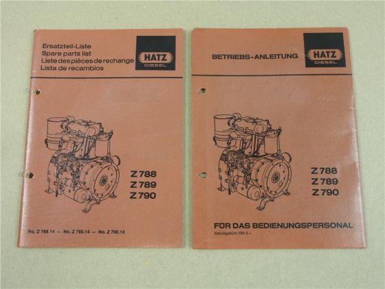 Hatz Z788 Z789 Z790 Motor Betriebsanleitung und Ersatzteilliste 1985/86