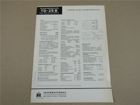 Prospekt IHC International Harvester TD-25B Planierraupe mit Querschild 25D-2