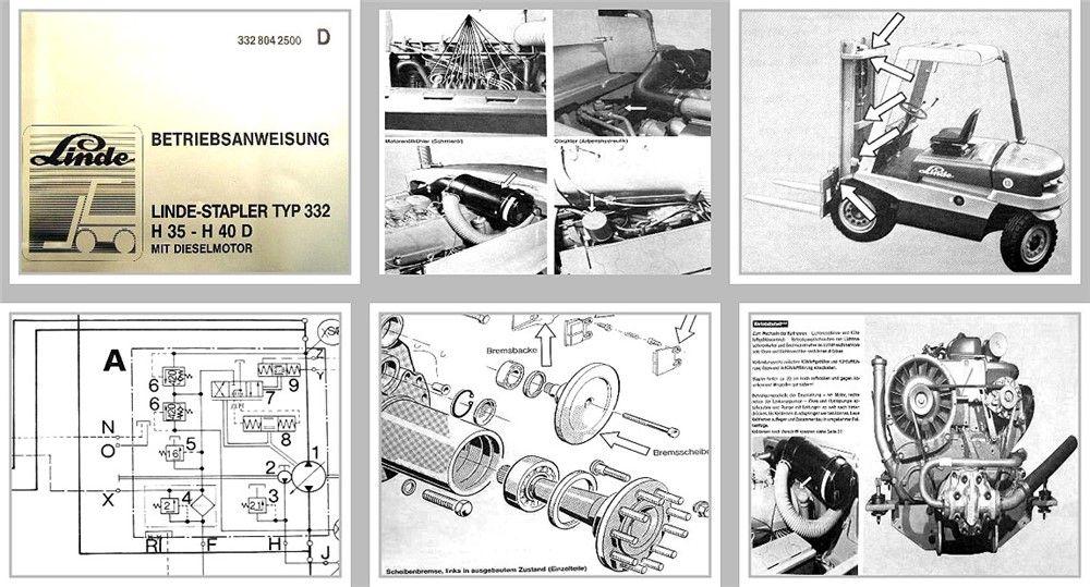 Linde H35, H40 Typ 332 Gabelstapler Betriebsanleitung ...