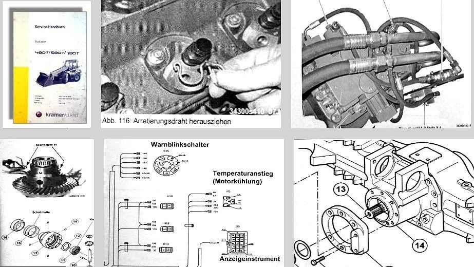 Kramer Allrad 480T 580T 780T Radlader Service-Handbuch Wartung ...