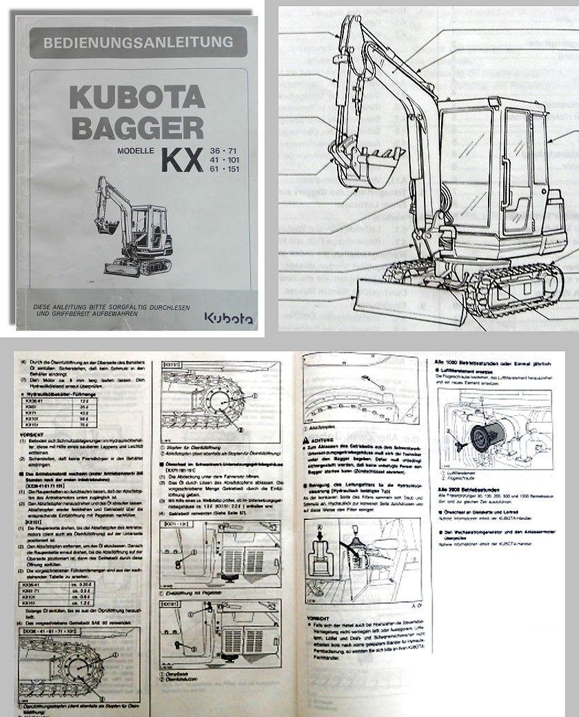 Beliebt Kubota KX 36 KX41 KX61 KX71 KX101 KX151 Bagger Betriebsanleitung WI74