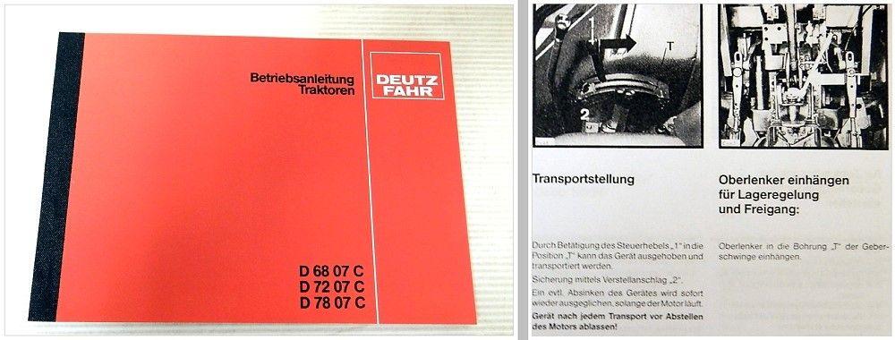 D7207C Deutz Fahr Schlepper D6807C D7807C Betriebsanleitung