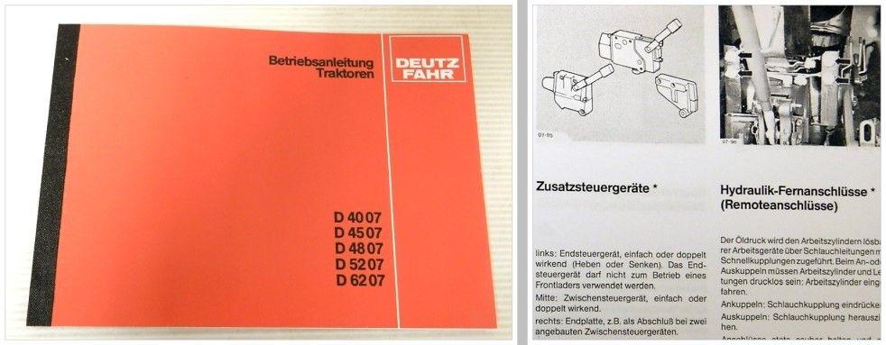 Deutz Bedienungsanleitung für Traktor D4007 D4507 D4807 D5207 D6207 .