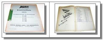 Agria Ersatzteilliste Mäheinrichtungen 1946 bis 4046