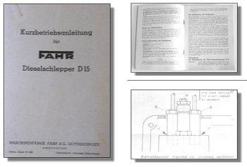 Fahr D15 Schlepper Kurz - Betriebsanleitung