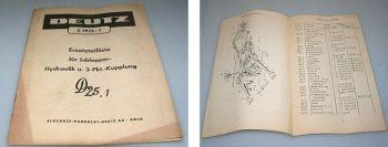 Deutz D25.1 Hydraulik und 3 Punkt Kupplung Ersatzteilliste 1960