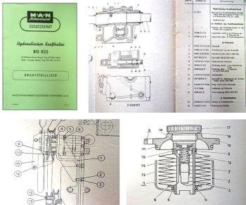 MAN Ackerdiesel Kraftheber BG 825 Ersatzteilliste 1955