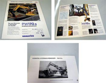 Komatsu PW170-5 Hydraulikbagger Prospekt Technische Daten 1992