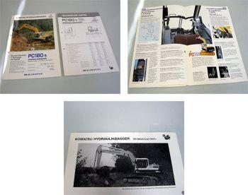 Komatsu PW180LC/LLC/NLC-5 Bagger Prospekt Technische Daten 1990
