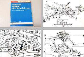 Reparaturleitfaden VW Golf 1 Scirocco Werkstatthandbuch 2E3 Vergaser FA FJ - HK