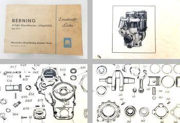 Berning Di7 4-Takt Motor Ersatzteilliste ca. 1960 luftgekühlt 425ccm 8PS