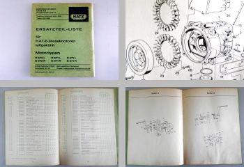 Hatz E672 L/R E671 L/R E571 L/R Motor Ersatzteilliste 1974 Ersatzteilkatalog