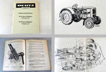Deutz 30PS + 34 PS Schlepper F2L 514/4 + F2L514/6 Bedienungsanleitung 1958