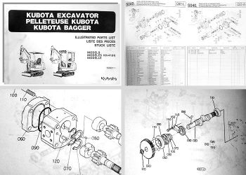 Ersatzteilkatalog Kubota KH-41 (H) Bagger Stückliste Ersatzteilliste Parts List