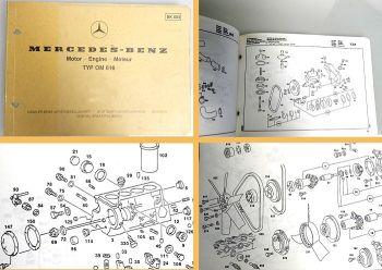 Mercedes Benz OM 616 Motor MB 100D Unimog 1984 Ersatzteilliste Bildkatalog